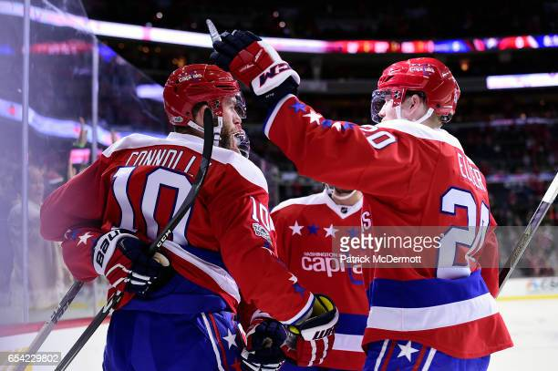 Brett Connolly of the Washington Capitals celebrates his first period goal against the Nashville Predators during an NHL game at Verizon Center on...