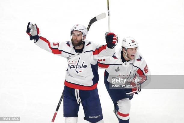 Brett Connolly of the Washington Capitals celebrates his firstperiod goal with Andre Burakovsky against the Vegas Golden Knights in Game One of the...