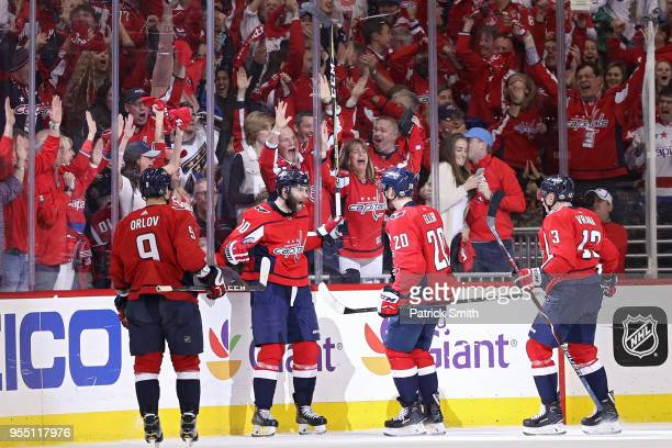 Evgeny Kuznetsov of the Washington Capitals celebrates after scoring a third period goal against the Pittsburgh Penguins in Game Five of the Eastern...