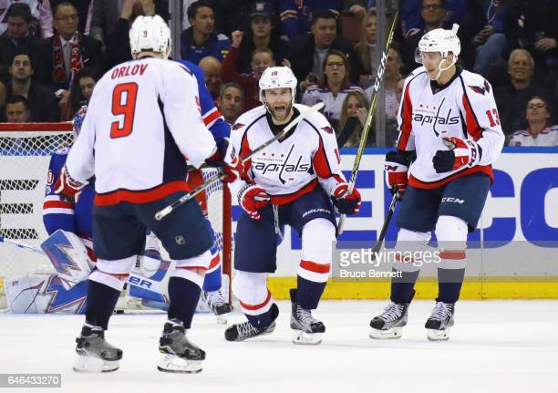 Brett Connolly of the Washington Capitals celebrates his goal at 1626 of teh first period and is joined by Dmitry Orlov and Jakub Vrana at Madison...