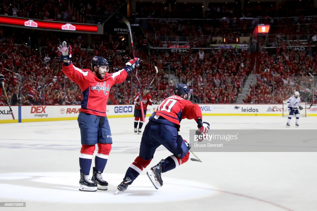 Brett Connolly #10 of the Washington Capitals celebrates with his teammate Chandler Stephenson #18 after scoring a goal on Andrei Vasilevskiy #88 of the Tampa Bay Lightning during the second period in Game Three of the Eastern Conference Finals during the 2018 NHL Stanley Cup Playoffs at Capital One Arena on May 15, 2018 in Washington, DC.