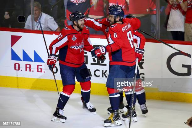 Brett Connolly of the Washington Capitals is congratulated by his teammates after scoring a thirdperiod goal against the Vegas Golden Knights in Game...