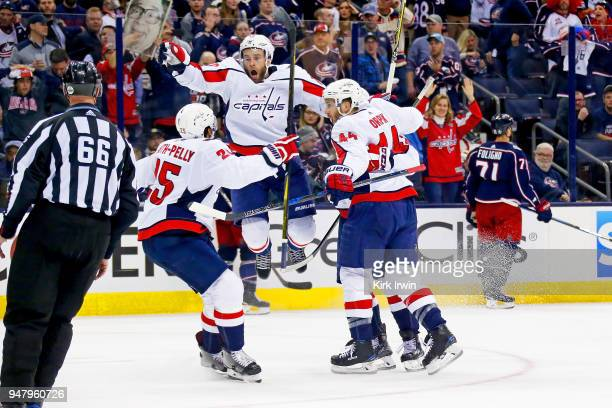 Brett Connolly of the Washington Capitals reacts after Lars Eller of the Washington Capitals scored the game winning goal against the Columbus Blue...