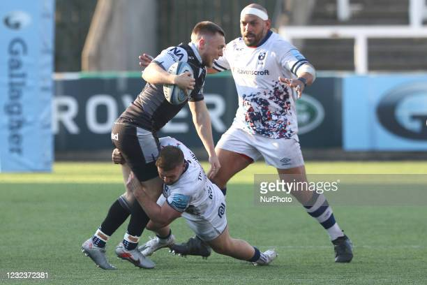 Brett Connon of Newcastle Falcons is challenged during the Gallagher Premiership match between Newcastle Falcons and Bristol at Kingston Park,...
