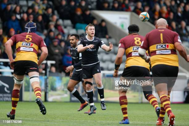 Brett Connon of Newcastle Falcons waits for the ball during the Greene King IPA Championship match between Newcastle Falcons and Ampthill amp...