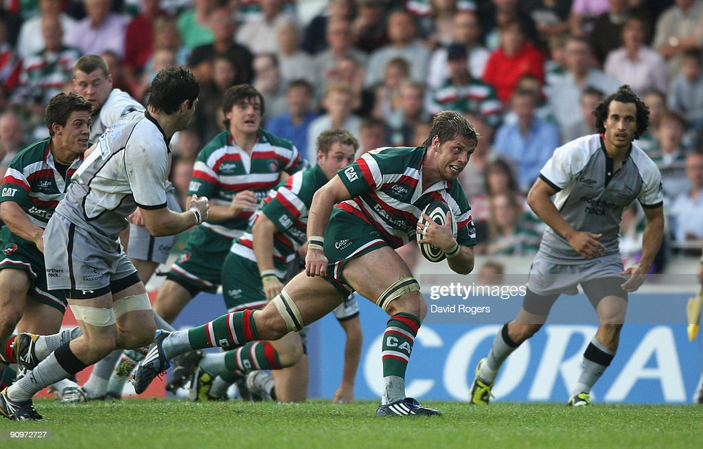 Brett Deacon of Leicester runs upfield during the Guinness Premiership match between Leicester Tigers and Newcastle Falcons at Welford Road on September 19, 2009 in Leicester, England.