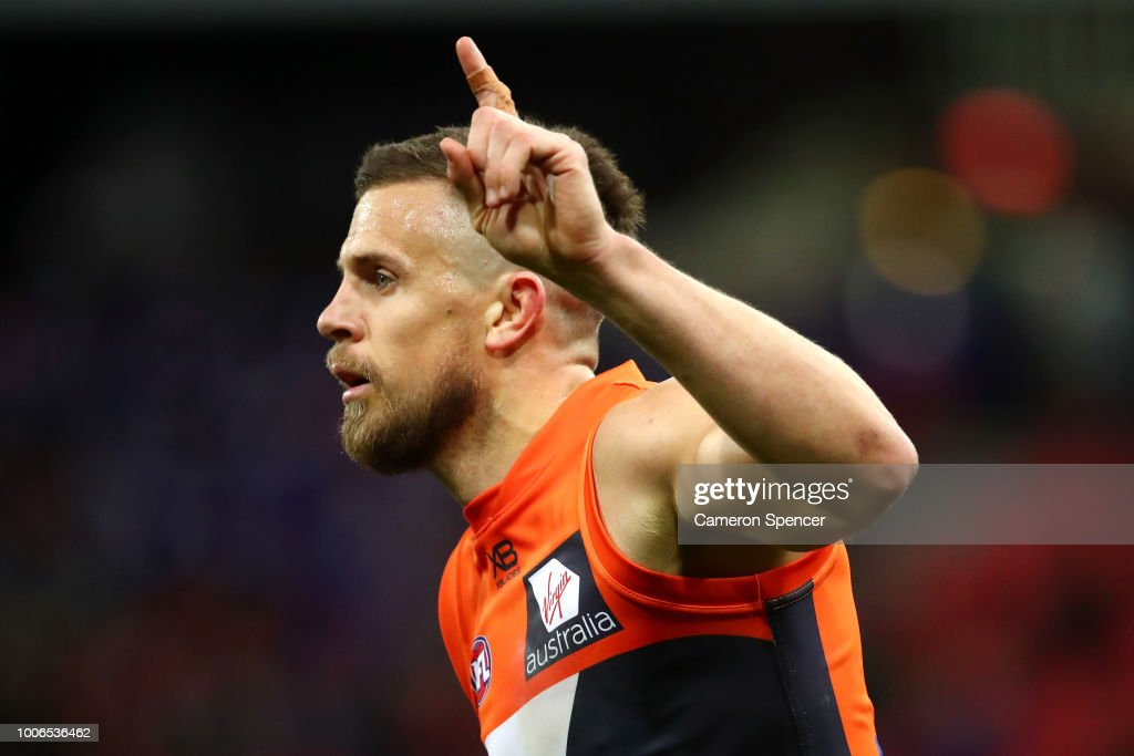 Brett Deledio of the Giants celebrates kicking a goal during the round 19 AFL match between the Greater Western Sydney Giants and the St Kilda Saints at Spotless Stadium on July 28, 2018 in Sydney, Australia.