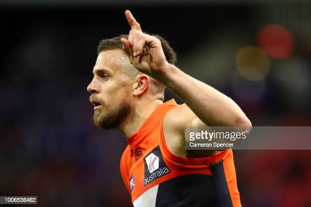 Brett Deledio of the Giants celebrates kicking a goal during the round 19 AFL match between the Greater Western Sydney Giants and the St Kilda Saints...