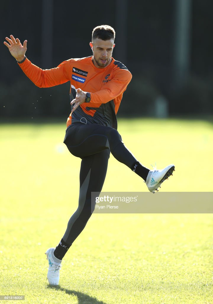 Brett Deledio of the Giants trains during a Greater Western Sydney Giants AFL training session at Sydney Olympic Park on June 2, 2017 in Sydney, Australia.
