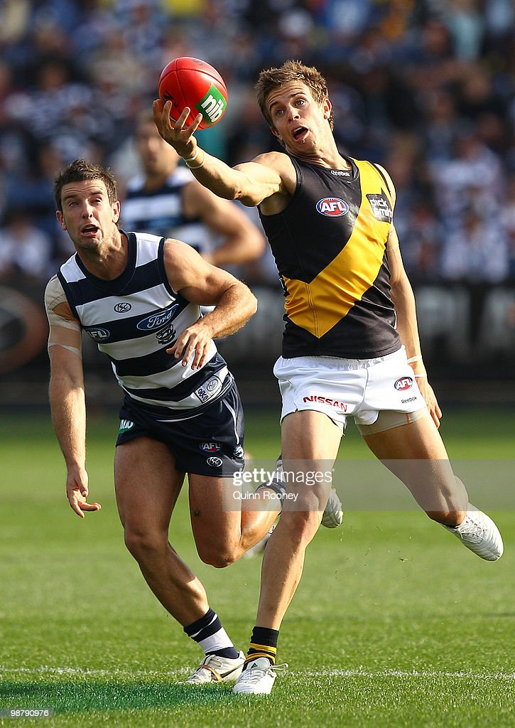 Brett Deledio of the Tigers marks during the round six AFL match between the Geelong Cats and the Richmond Tigers at Skilled Stadium on May 2, 2010 in Melbourne, Australia.