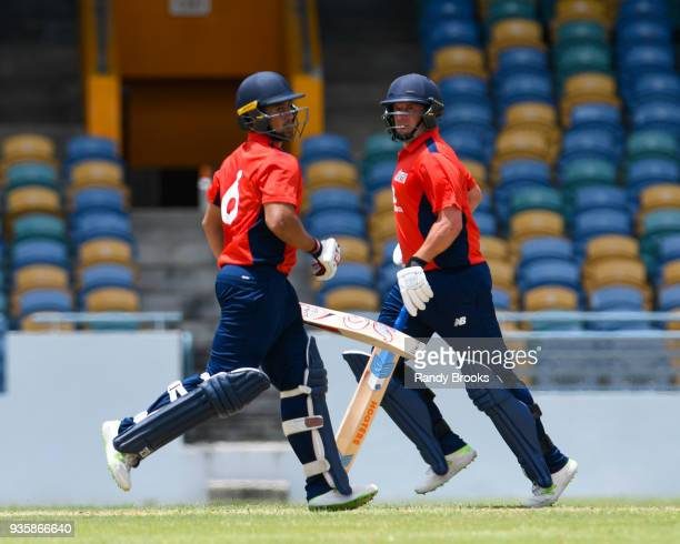 Brett DâOliveira and Steven Mullaney of North partnership during the ECB North v South Series match Two at Kensington Oval on March 21 2018 in...