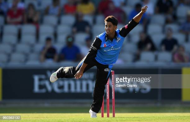 Brett D'Oliveira of Worcestershire bowls during the Vitality Blast match between Lancashire Lighting and Worcestershire Rapids at Old Trafford on...