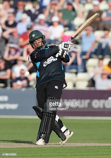 Brett D'Oliveira of Worcestershire pulls the ball for four runs during the NatWest T20 Blast match between Worcestershire Rapids and Northamptonshire...