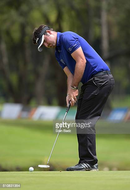 Brett Drewitt hits a putt on the 18th green during the second round of the Web.com Tour Club Colombia Championship Presented by Claro at Bogotá...