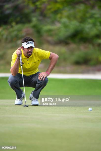 Brett Drewitt lines up a putt on the eighth green during the third round of the Web.com Tour's The Bahamas Great Exuma Classic at Sandals Emerald Bay...