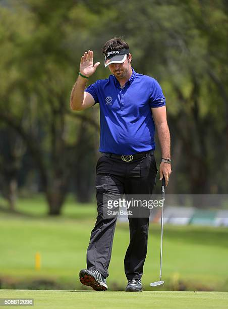 Brett Drewitt of Australia acknowledges the gallery on the 18th hole during the second round of the Web.com Tour Club Colombia Championship Presented...