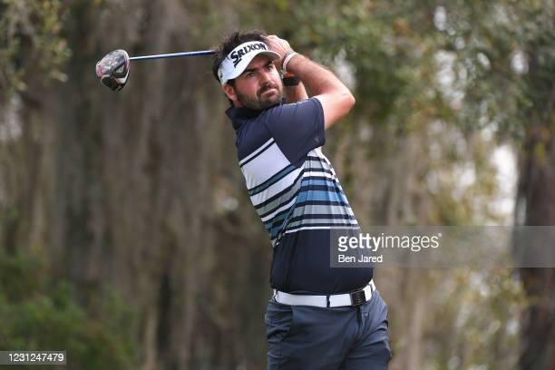 Brett Drewitt of Australia hits a tee shot on the fourth hole during the first round of the LECOM Suncoast Classic at Lakewood National Golf Club...
