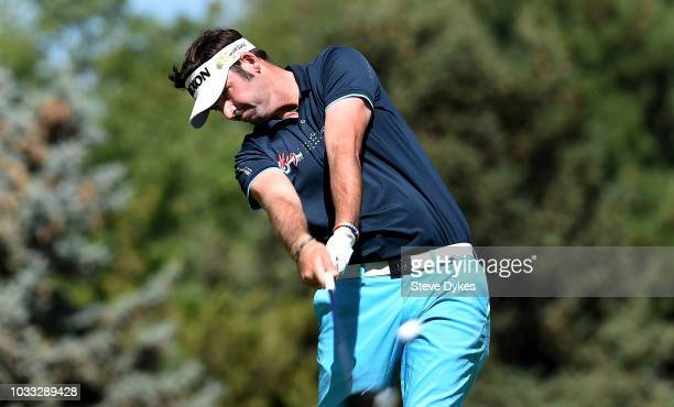 Brett Drewitt of Australia hits his drive on the sixth hole during the second round of the Albertsons Boise Open at the Hillcrest Country Club on...