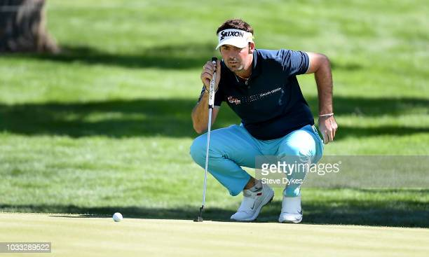 Brett Drewitt of Australia lines up his birdie putt on the fourth hole during the second round of the Albertsons Boise Open at the Hillcrest Country...