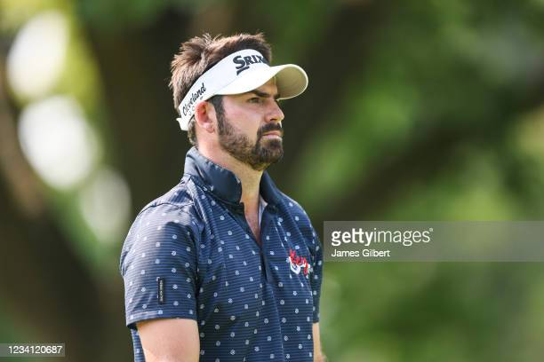 Brett Drewitt of Australia looks on from the 16th Tee during the first round of the Price Cutter Charity Championship presented by Dr. Pepper at...
