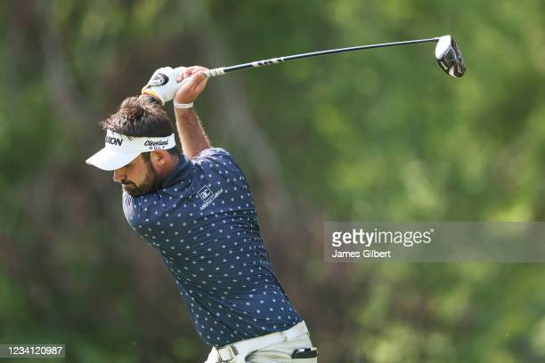Brett Drewitt of Australia plays his shot from the 16th Tee during the first round of the Price Cutter Charity Championship presented by Dr. Pepper...