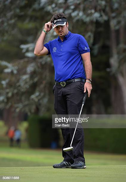Brett Drewitt of Australia reacts to his putt on the 17th hole during the second round of the Web.com Tour Club Colombia Championship Presented by...