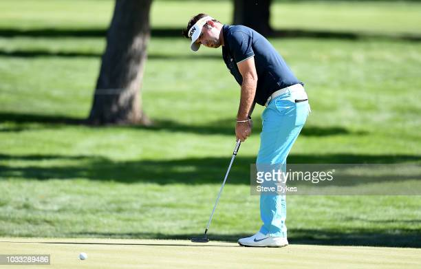Brett Drewitt of Australia sinks his birdie putt on the fourth hole during the second round of the Albertsons Boise Open at the Hillcrest Country...