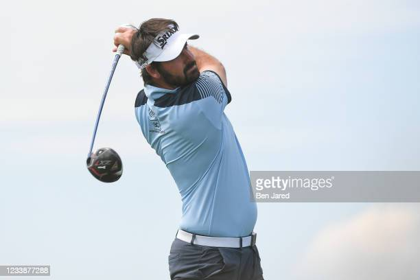 Brett Drewitt of Australia tees off on the fourth hole during the first round of the Korn Ferry Tours TPC Colorado Championship at Heron Lakes on...