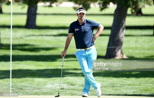 Brett Drewitt of Australia waits to putt on the fourth hole during the second round of the Albertsons Boise Open at the Hillcrest Country Club on...