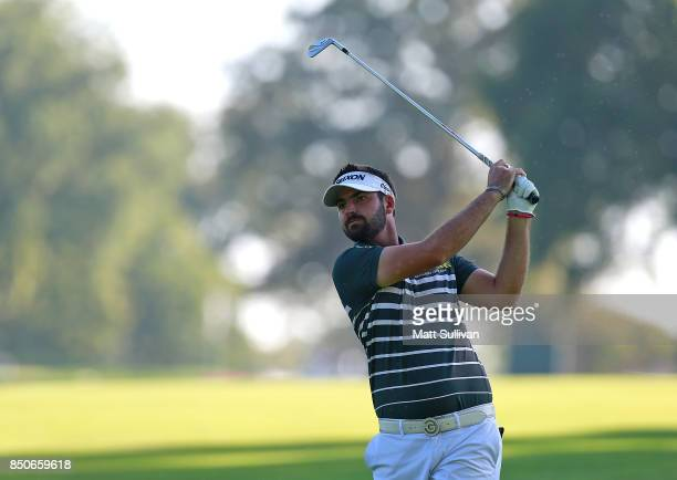Brett Drewitt of Australia watches his second shot on the 16th hole during the first round of the Web.com Tour DAP Championship on September 21, 2017...