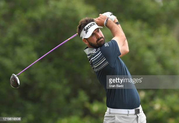 Brett Drewitt plays a tee shot on the first hole during the second round at the Korn Ferry Tour's Korn Ferry Challenge at TPC Sawgrass at Dyes Valley...