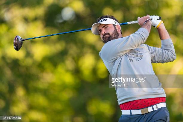Brett Drewitt tees off on the 17th hole during the third round of the Korn Ferry Tour Veritex Bank Championship at the Texas Rangers Golf Club on...