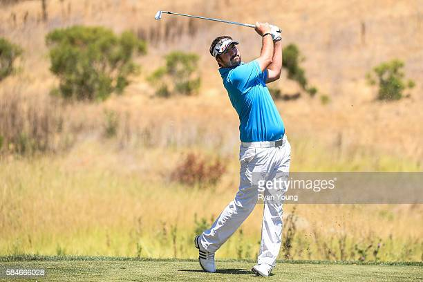 Brett Drewitt tees off on the fourth hole during the first round of the Web.com Tour Ellie Mae Classic at TPC Stonebrae on July 28, 2016 in Hayward,...