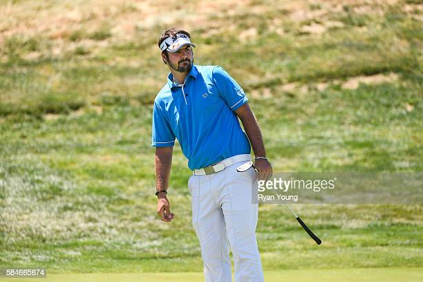 Brett Drewitt watches a putt on the third hole during the first round of the Web.com Tour Ellie Mae Classic at TPC Stonebrae on July 28, 2016 in...