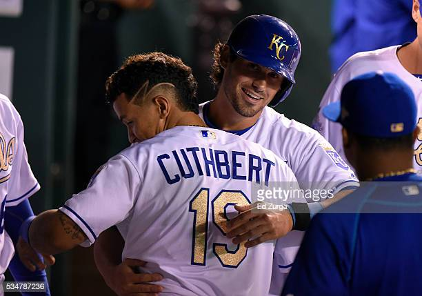 Brett Eibner of the Kansas City Royals celebrates with Cheslor Cuthbert after scoring in the seventh inning against the Chicago White Sox at Kauffman...