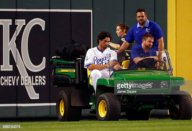 Brett Eibner of the Kansas City Royals is carted off the field after going down with an injury during the 5th inning of the game against the Tampa...
