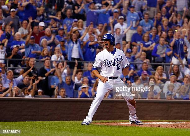 Brett Eibner of the Kansas City Royals reacts after scoring during the 4th inning of the game against the Tampa Bay Rays at Kauffman Stadium on May...