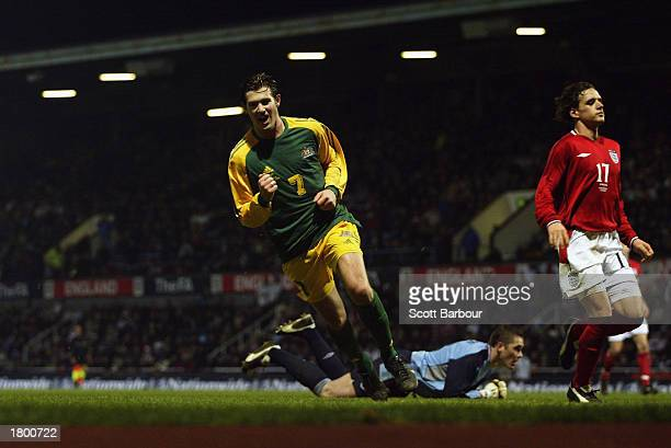Brett Emerton of Australia celebrates scoring Australia's third goal during the International Friendly match between England and Australia held on...
