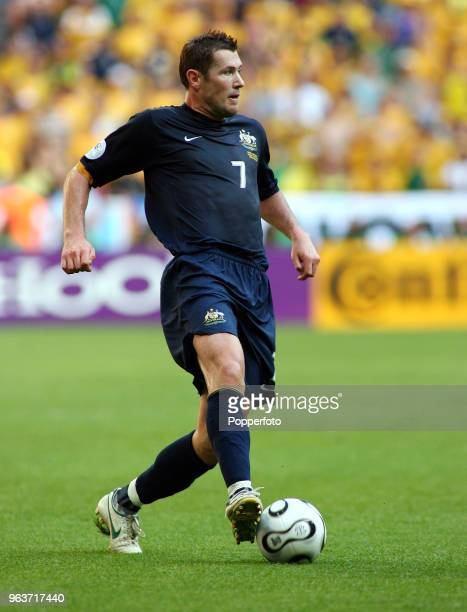 Brett Emerton of Australia in action during the FIFA World Cup Group F match between Brazil and Australia at the FIFA WMStadion in Munich on June 18...
