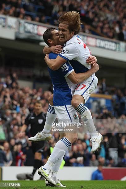 Brett Emerton of Blackburn Rovers celebrates scoring the first goal with Michel Salgado during the Barclays Premier League match between Blackburn...