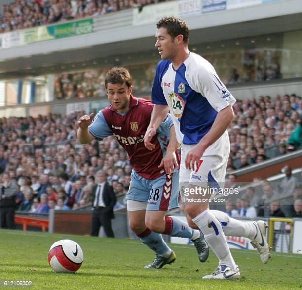 Brett Emerton of Blackburn Rovers moves past Shaun Maloney of Aston Villa during the Barclays Premiership match between Blackburn Rovers and Aston...