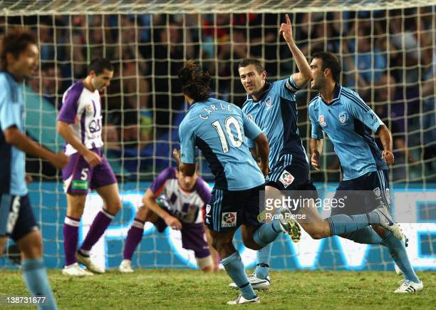 Brett Emerton of Sydney celebrates after scoring his teams first goal during the round 19 A-League match between Sydney FC and Perth Glory at Sydney...