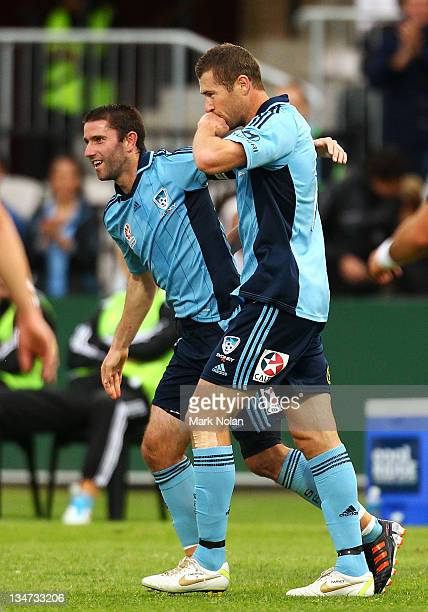 Brett Emerton of Sydney celebrates his goal during the round nine A-League match between Sydney FC and the Brisbane Roar at WIN Jubilee Stadium on...