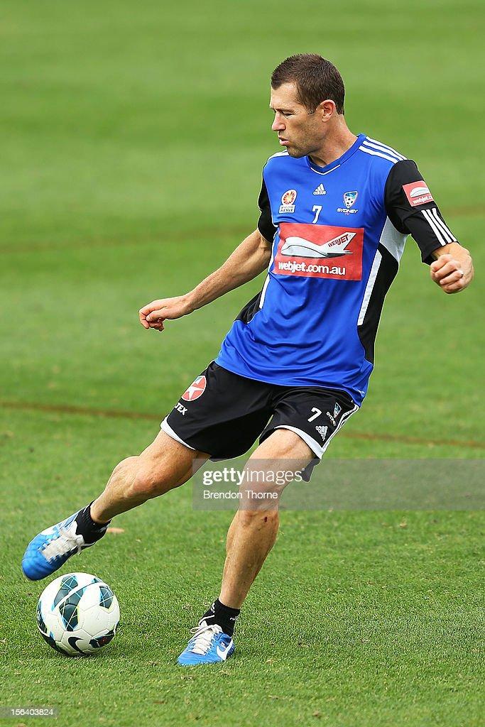 Brett Emerton of Sydney kicks during a Sydney FC A-League training session at Macquarie Uni on November 15, 2012 in Sydney, Australia.