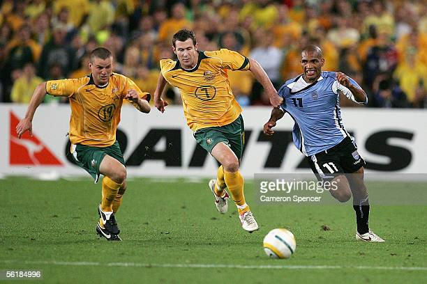 Brett Emerton of the Socceroos contests the ball with Mario Regueiro of Uruguay during the second leg of the 2006 FIFA World Cup qualifying match...