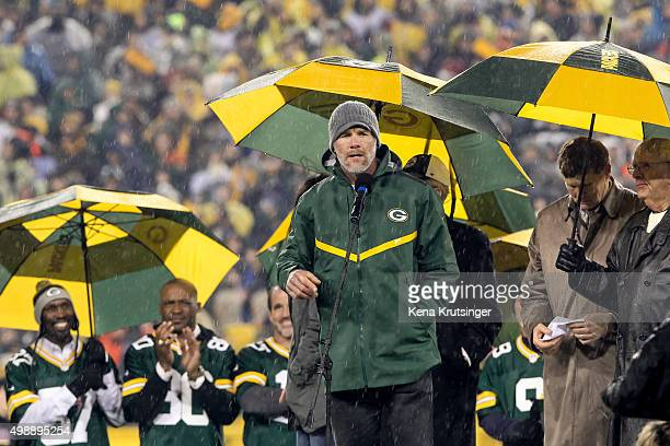 Brett Favre former Green Bay Packers quarterback speaks during the retirement ceremony for his jersey at Lambeau Field on November 26 2015 in Green...