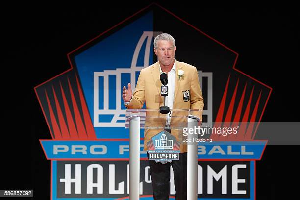 Brett Favre former NFL quarterback speaks during his 2016 Class Pro Football Hall of Fame induction speech during the NFL Hall of Fame Enshrinement...