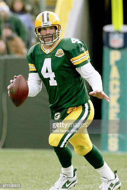Brett Favre of the Green Bay Packers during a game against the Carolina Panthers played at Lambeau Field in Green Bay Wisconsin