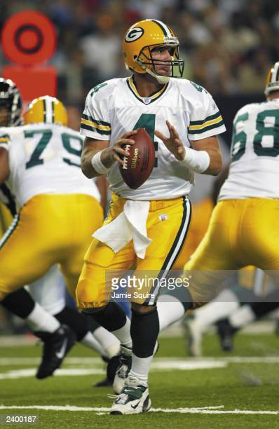 Brett Favre of the Green Bay Packers looks to pass against the Atlanta Falcons on August 9, 2003 at the Georgia Dome in Atlanta, Georgia. The Packers...