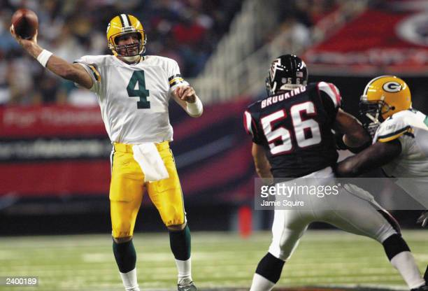 Brett Favre of the Green Bay Packers passes against the Atlanta Falcons on August 9, 2003 at the Georgia Dome in Atlanta, Georgia. The Packers...